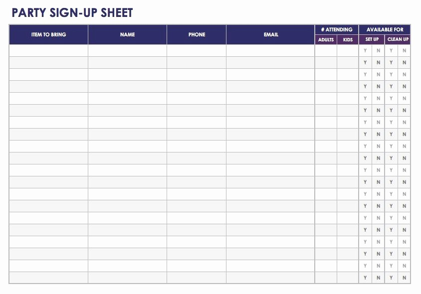Holiday Party Sign Up Sheet Lovely Free Sign In and Sign Up Sheet Templates