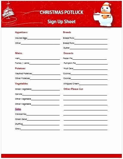 Holiday Party Sign Up Sheet Luxury Christmas Potluck Signup Sheet Template