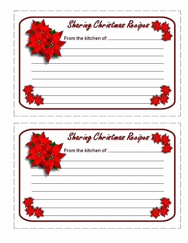 Holiday Recipe Card Template Free Awesome Christmas Recipe Card Template Templates Printable Cards