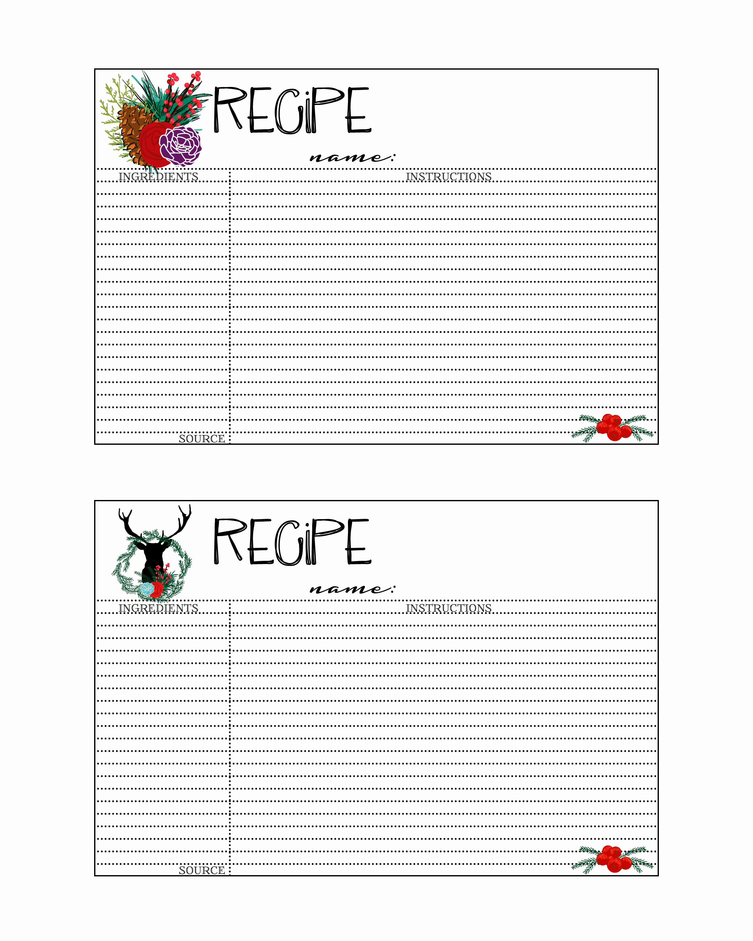 Holiday Recipe Card Template Free Beautiful Free Printable Christmas Recipe Cards the Grant Life