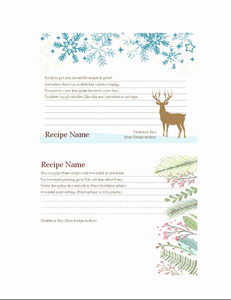 Holiday Recipe Card Template Free Elegant Recipe Cards Christmas Spirit Design Works with Avery