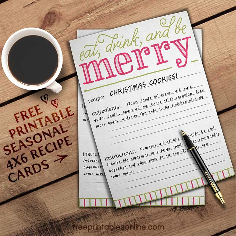 Holiday Recipe Card Template Free Fresh Eat Drink and Be Merry Holiday Recipe Card Template