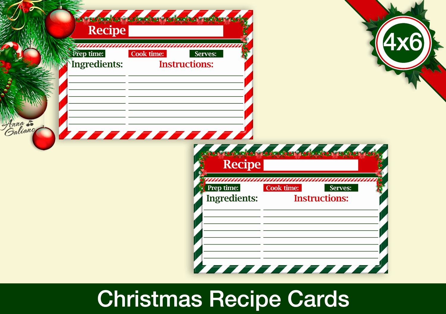 Holiday Recipe Card Template Free Inspirational Christmas Recipe Cards 4x6 Recipe Cards Printable Recipe