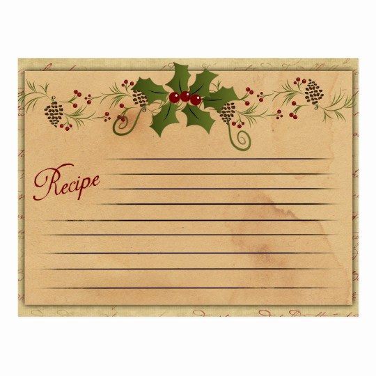 Holiday Recipe Card Template Free Inspirational Vintage Christmas Recipe Card