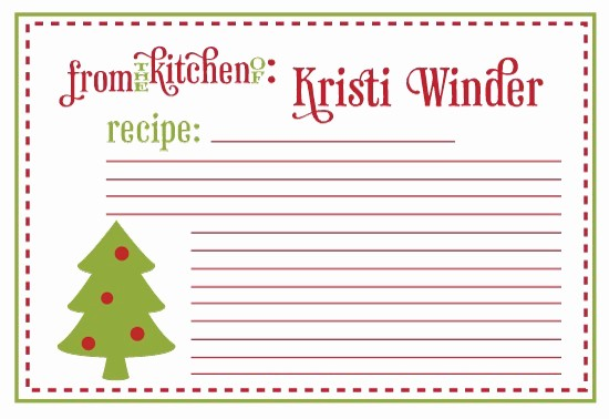 Holiday Recipe Card Template Free Lovely 6 Best Of Printable Recipe Cards Christmas Free