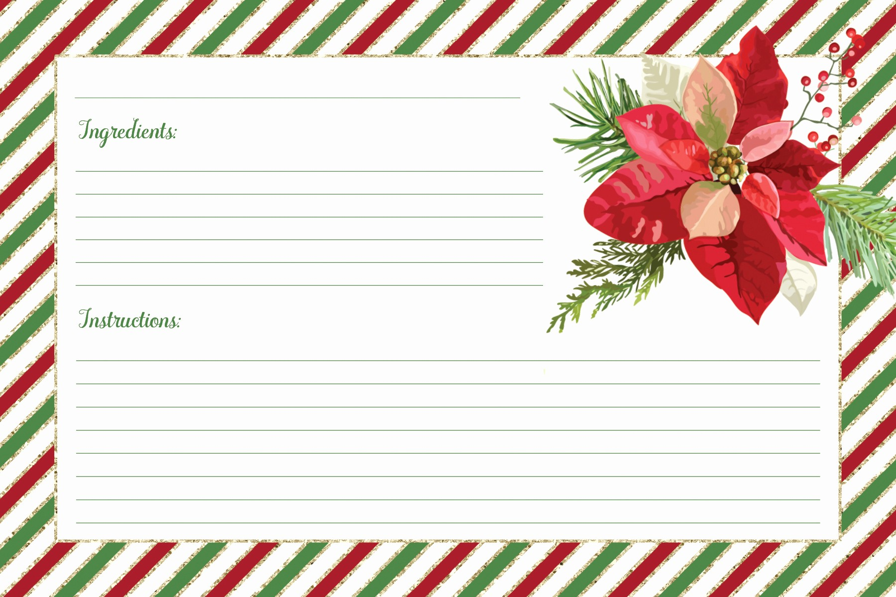 Holiday Recipe Card Template Free Lovely Free Printable Christmas Recipe Cards