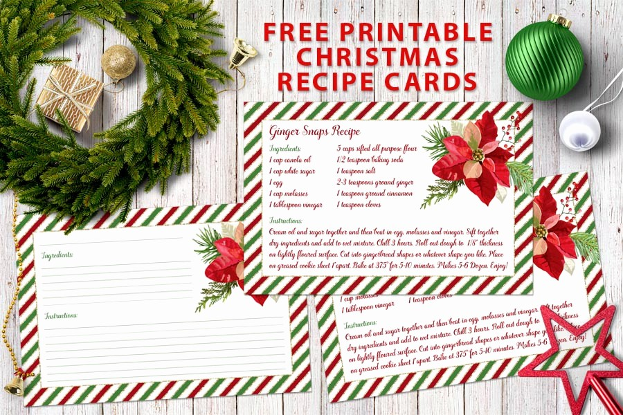 Holiday Recipe Card Template Free Luxury Free Printable Christmas Recipe Cards