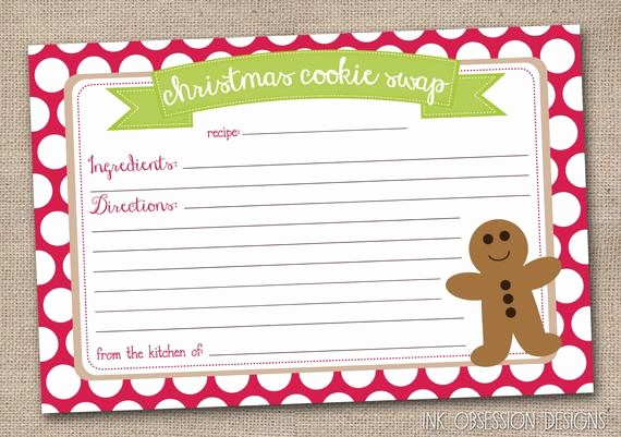 Holiday Recipe Card Template Free Luxury Printable Christmas Cookie Exchange Recipe by