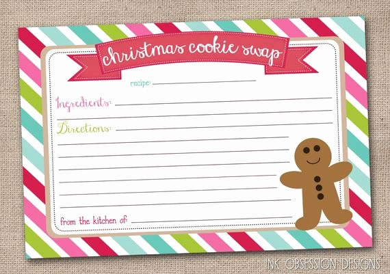 Holiday Recipe Card Template Free Unique Printable Christmas Cookie Exchange Party by