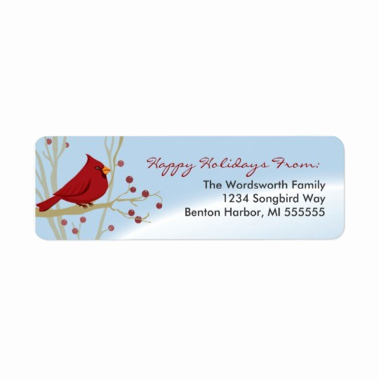 Holiday Return Address Label Templates Awesome Cardinal Holiday Return Address Labels