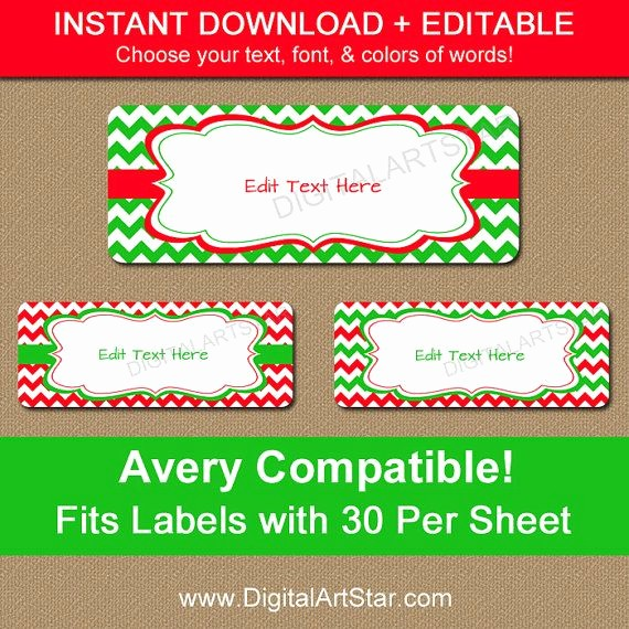 Holiday Return Address Label Templates Elegant Printable Christmas Address Labels Editable Holiday