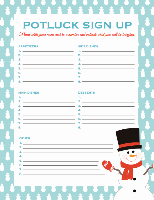 Holiday Sign Up Sheet Template Awesome Potluck Signup Sheet