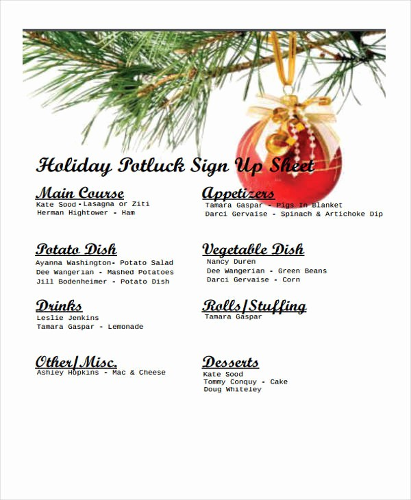 Holiday Sign Up Sheet Template Beautiful 7 Potluck Signup Sheet Templates Free Sample Example