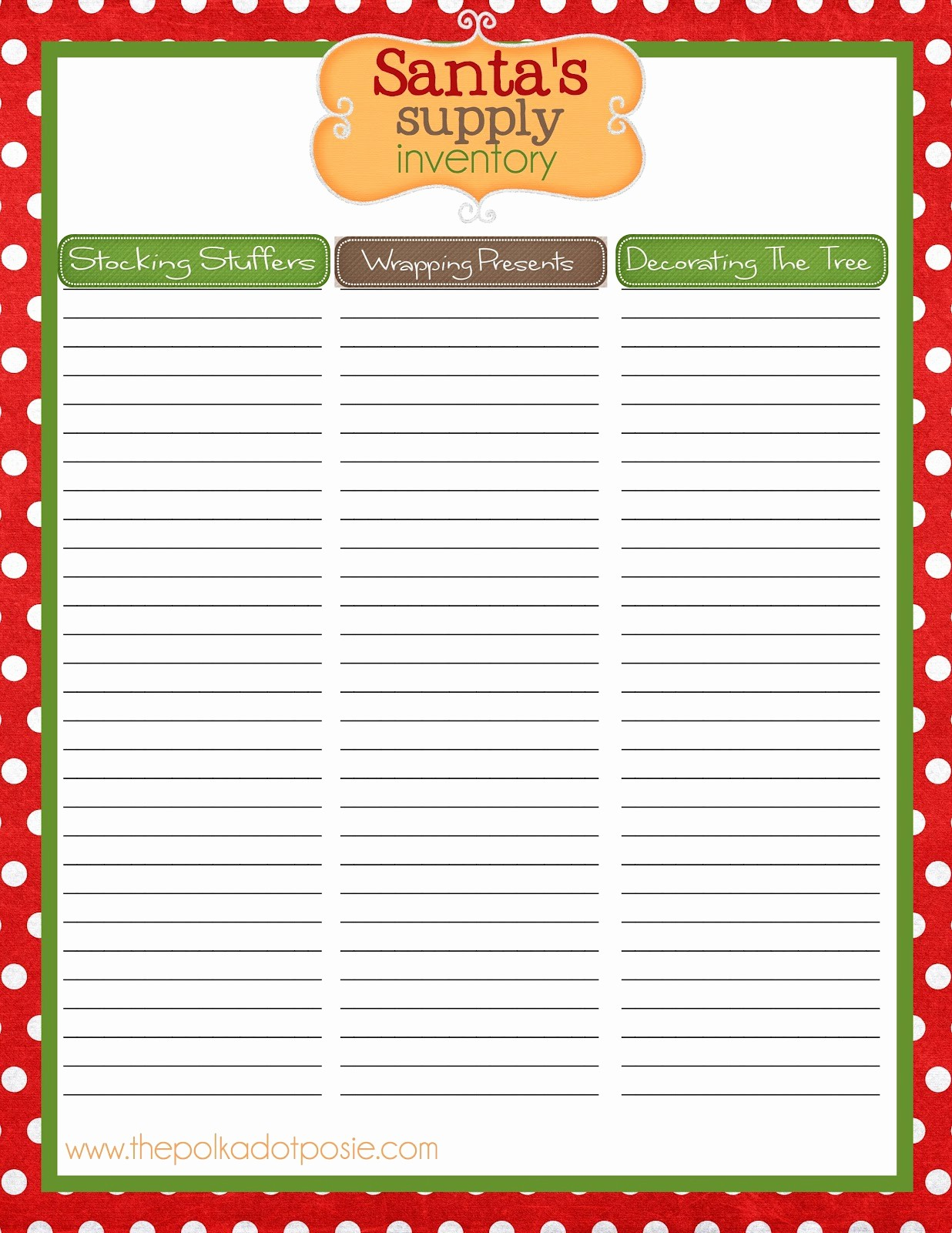 Holiday Sign Up Sheet Template Beautiful the Polka Dot Posie Christmas organizing Printables to