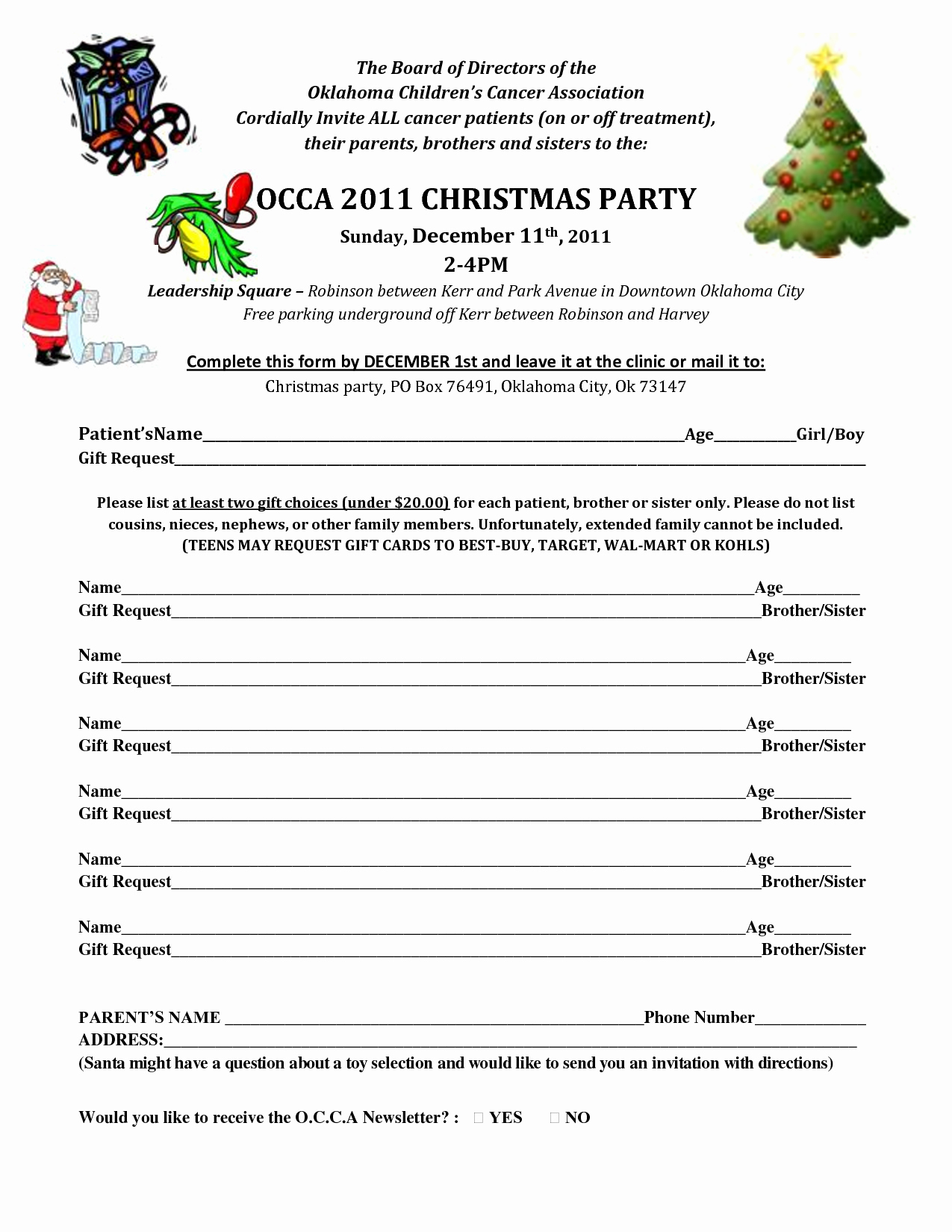 post christmas party printable sign up sheet