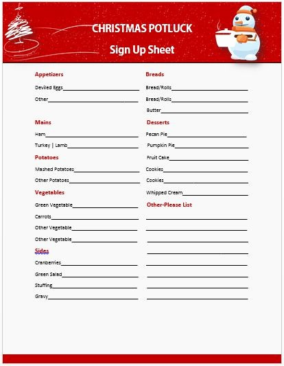 Holiday Sign Up Sheet Template Inspirational 13 Gorgeous Christmas Potluck Signup Sheets to Impress