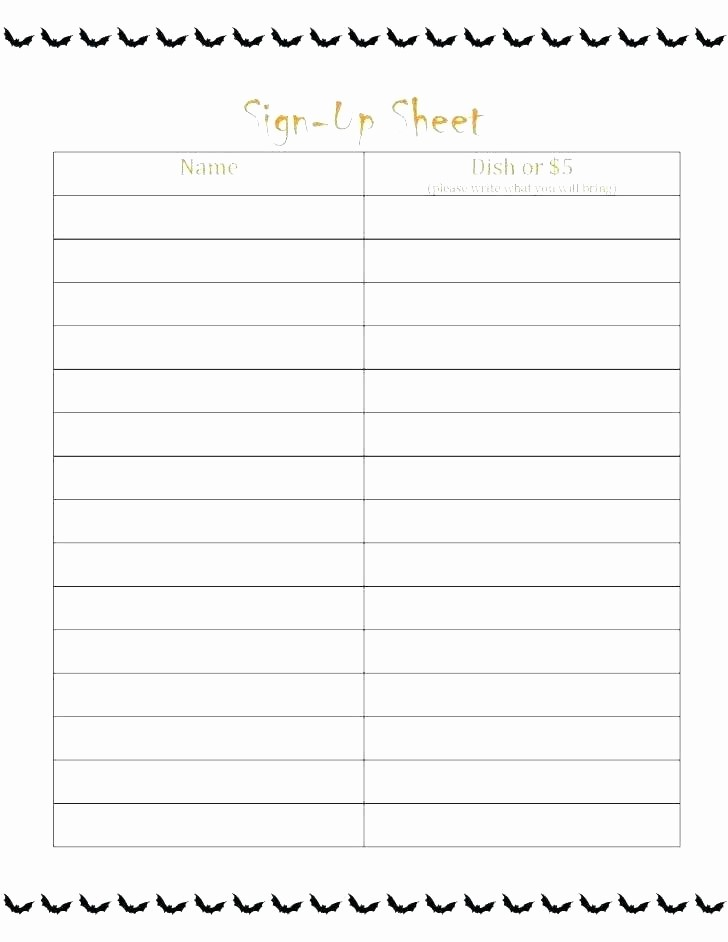 Holiday Sign Up Sheet Template New Holiday Potluck Signup Sheet Template – Tailoredswift