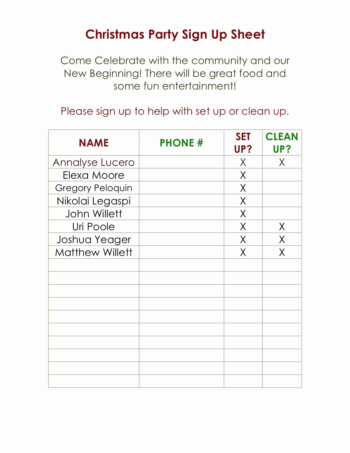 Holiday Sign Up Sheet Template Unique assumption Catholic Youth Group Parish Christmas Party