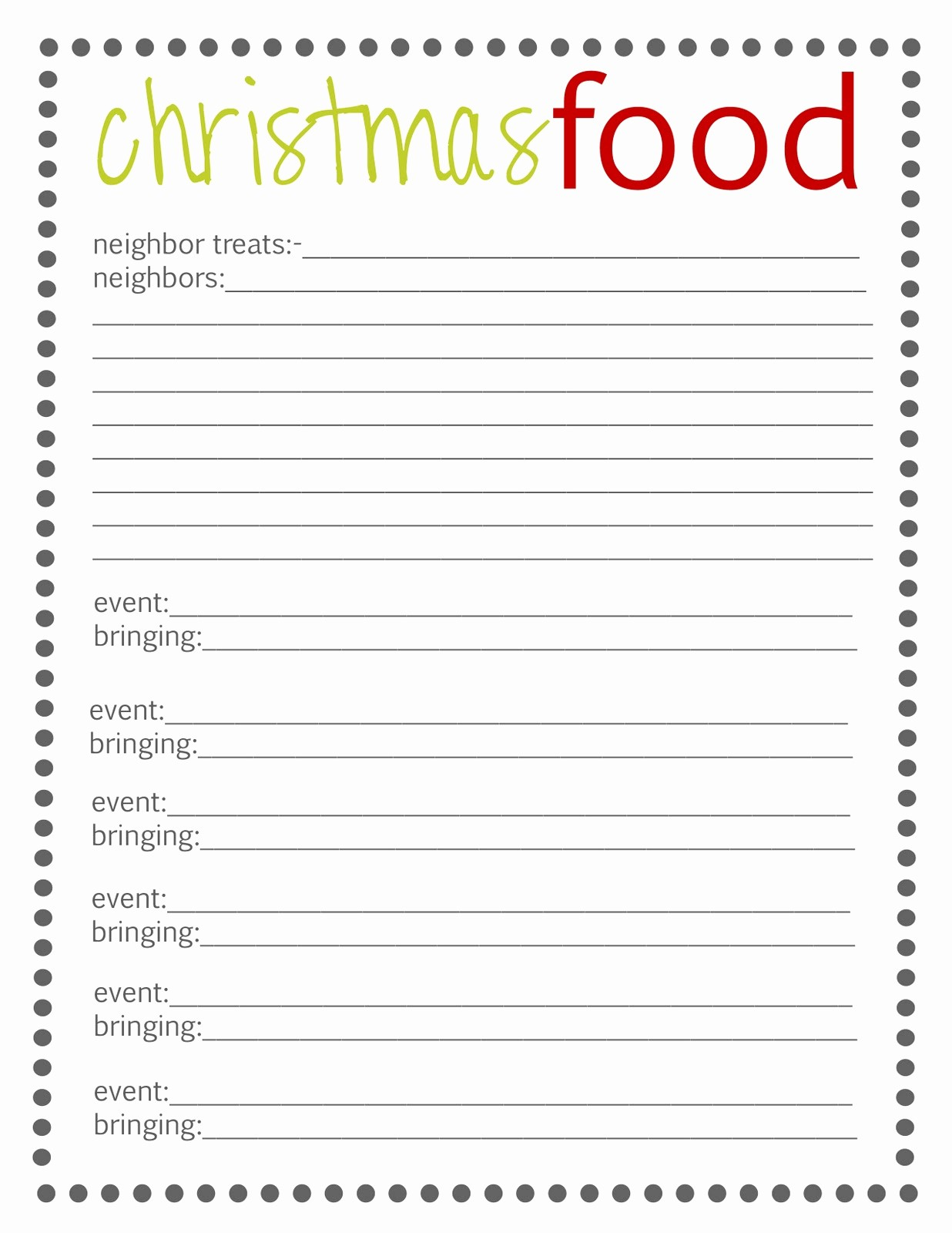 Holiday Sign Up Sheet Templates Awesome Lovely Little Snippets Planning Christmas 2012 Free