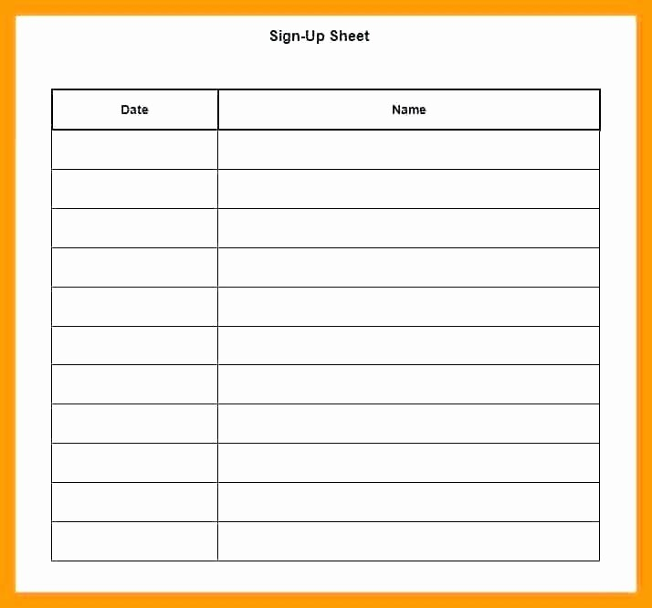 Holiday Sign Up Sheet Templates New Food Sign Up Sheet Template Potluck Dinner Printable