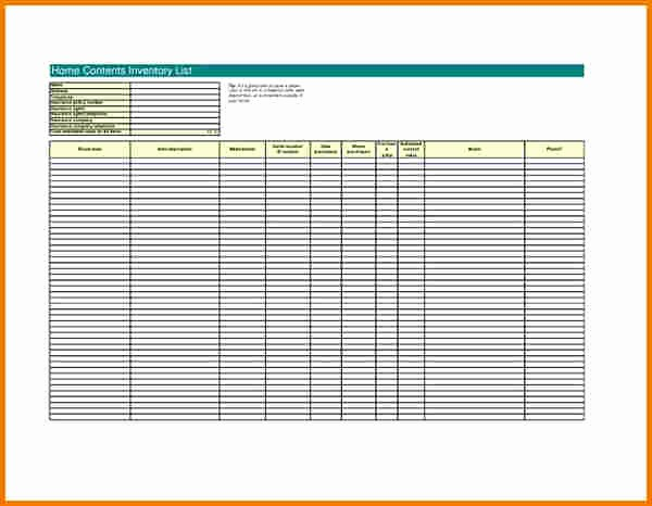 Home Contents Inventory List Template Awesome Home Inventory Template