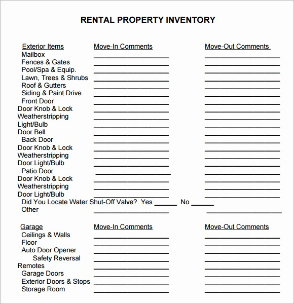 Home Contents Inventory List Template Beautiful 10 Property Inventory Templates