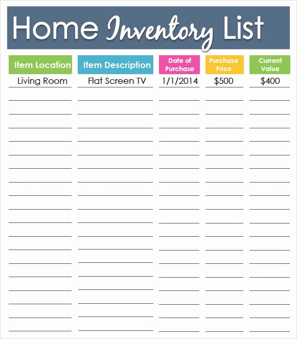 Home Contents Inventory List Template Best Of 10 Inventory List Templates
