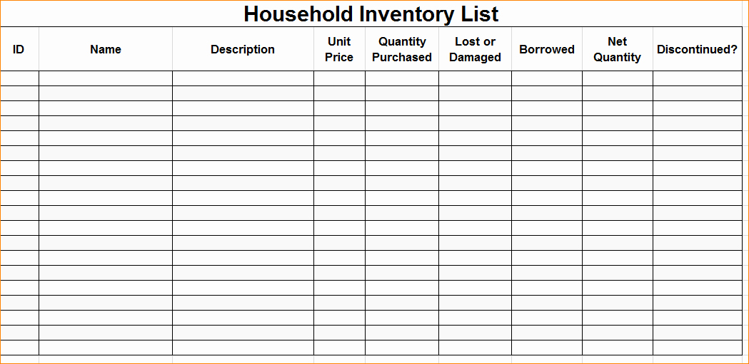 Home Contents Inventory List Template Best Of Excellent Home Inventory Sheet for Household Contents and