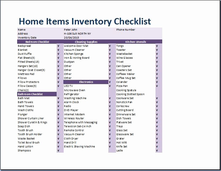 Home Contents Inventory List Template Best Of Prehensive Home Inventory Checklist Template