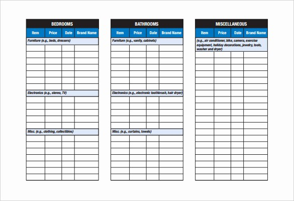 Home Contents Inventory List Template Fresh Checklist Template – 38 Free Word Excel Pdf Documents