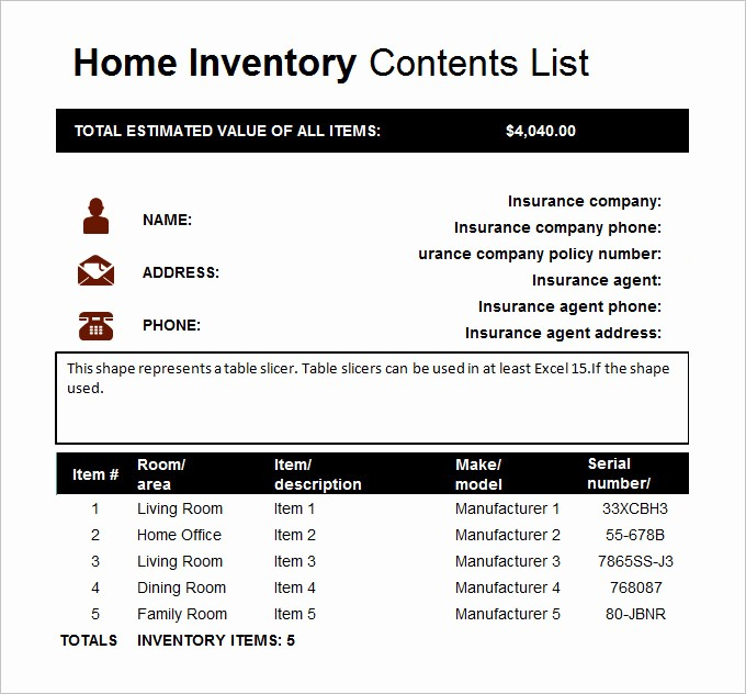 Home Contents Inventory List Template Fresh Home Inventory Template