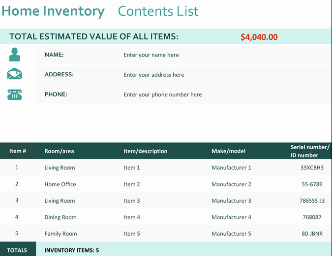 Home Contents Inventory List Template Inspirational Home Inventory