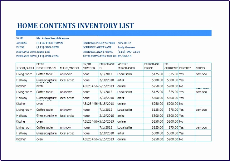 Home Contents Inventory List Template Luxury 8 Grocery Inventory List Template Exceltemplates
