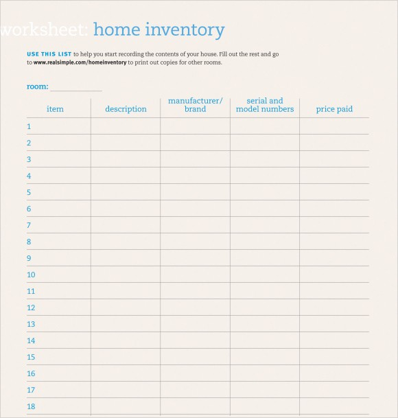 Home Contents Inventory List Template New 9 Home Inventory Templates