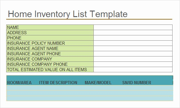 Home Contents Inventory List Template Unique 10 Inventory List Templates