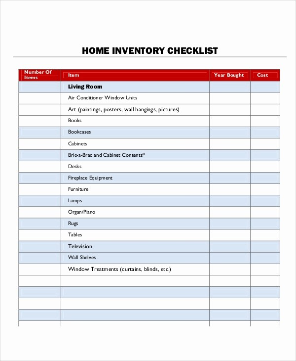 Home Contents Inventory List Template Unique 9 Inventory List Samples