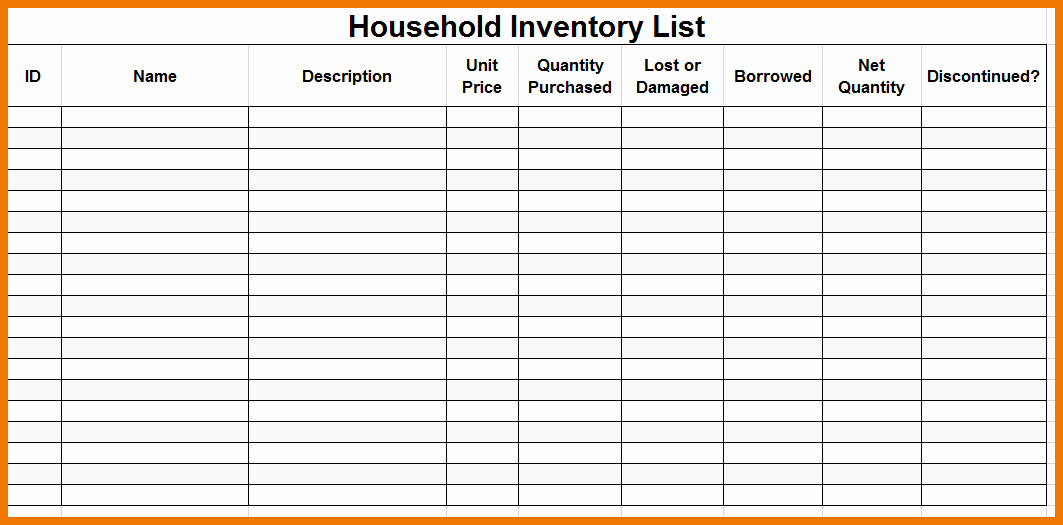 Home Contents Inventory List Template Unique Premium Household Inventory Checklist Template Sample