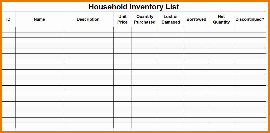 Home Contents Inventory List Template Unique Premium Household Inventory Checklist Template Sample