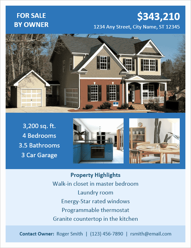 Home for Sale Flyer Templates Beautiful Fsbo Flyer Template for Word