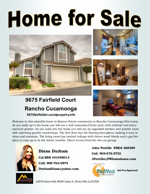 Home for Sale Flyer Templates Best Of Diana Durham Rancho Cucamonga Home for Sale Flyer