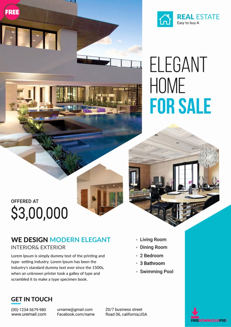 Home for Sale Flyer Templates Fresh Premium Real Estate Flyer Template