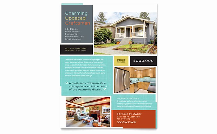Home for Sale Flyer Templates Inspirational Craftsman Home Flyer Template Design