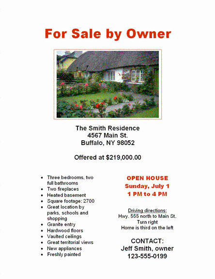 Home for Sale Flyer Templates Lovely for Sale by Owner Flyers