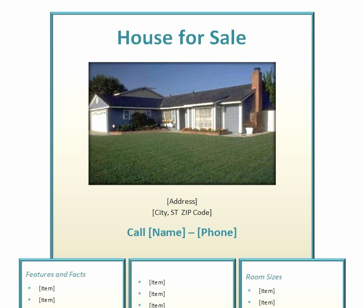 Home for Sale Flyer Templates Unique Home for Sale Flyer