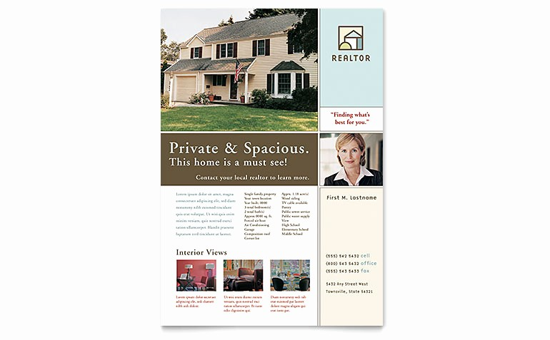 Home for Sale Flyer Templates Unique House for Sale Real Estate Flyer Template Word & Publisher