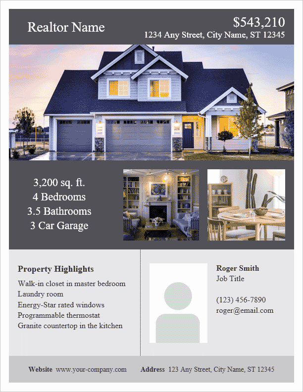 Home for Sale Flyer Templates Unique Real Estate Flyer Template for Word