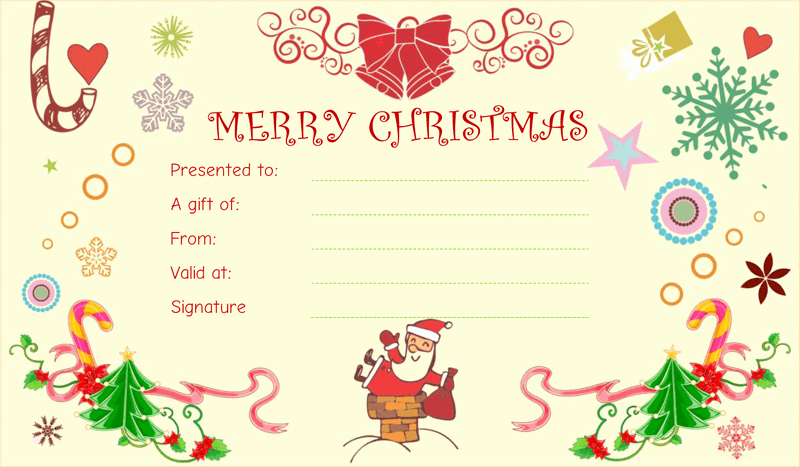 Homemade Gift Certificate Templates Free Beautiful Christmas Fun Gift Certificate Template
