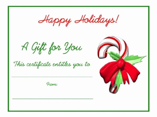 Homemade Gift Certificate Templates Free Inspirational Free Holiday Gift Certificates Templates to Print