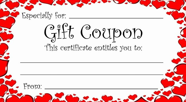 Homemade Gift Certificate Templates Free Inspirational Heart theme T Coupon for Valentine S Day or Any Time