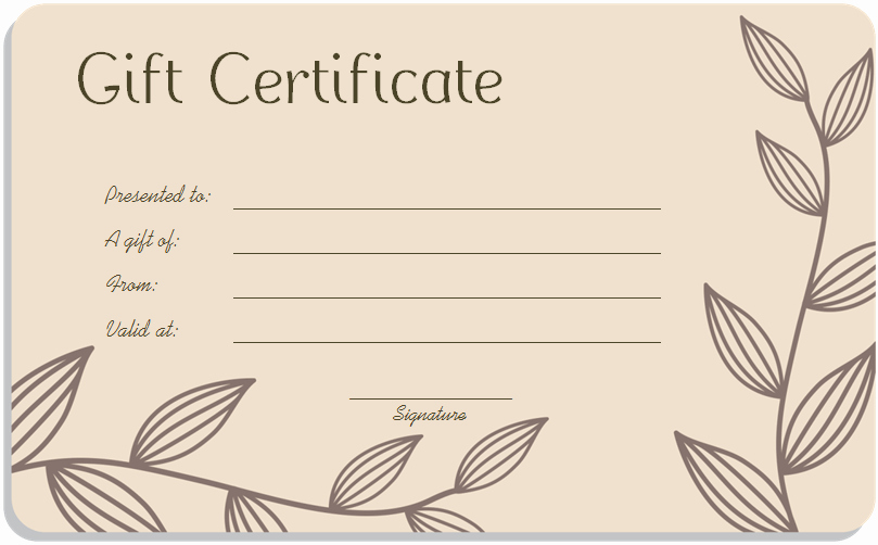 Homemade Gift Certificate Templates Free New Leaf Branches Art Gift Certificate Template